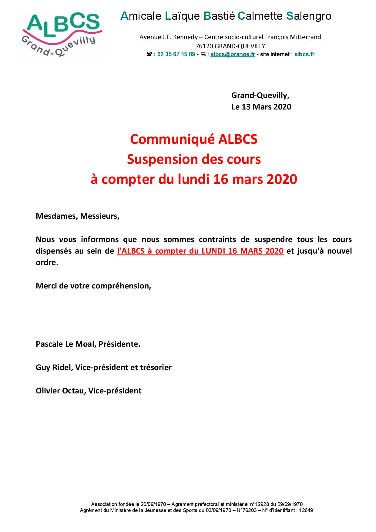 SUSPENSION DE TOUS LES COURS A COMPTER DE LUNDI 16 MARS 2020