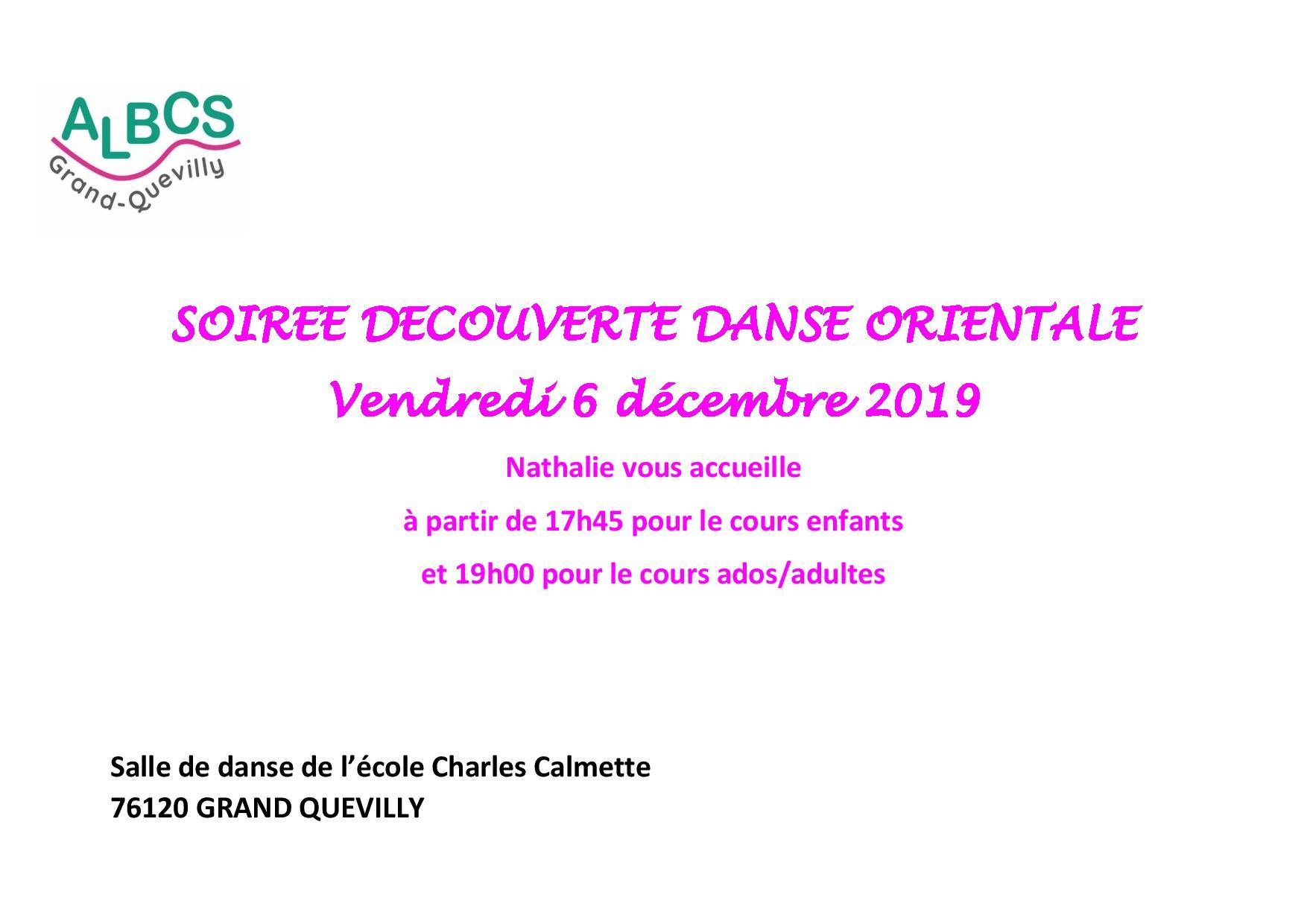 Vendredi 6 décembre soirée découverte danse orientale